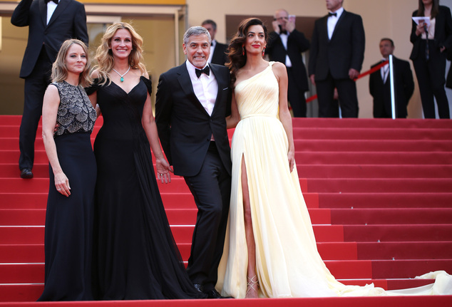 Director Jodie Foster, from left, actors Julia Roberts, George Clooney and Amal Clooney pose for photographers for the screening of the film Money Monster at the 69th international film festival, Cannes, southern France, Thursday, May 12, 2016. (AP Photo/Thibault Camus)