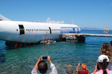AYDIN, TURKEY - JUNE 04: An Airbus A300 plane is seen as it will be sunk in the waters of the Aegean Sea off the coast of Kusadasi near Turkey's Izmir province on June 04, 2016 as part of a municipal project for diving tourism.  (Photo by Necip Uyanik/Anadolu Agency/Getty Images)
