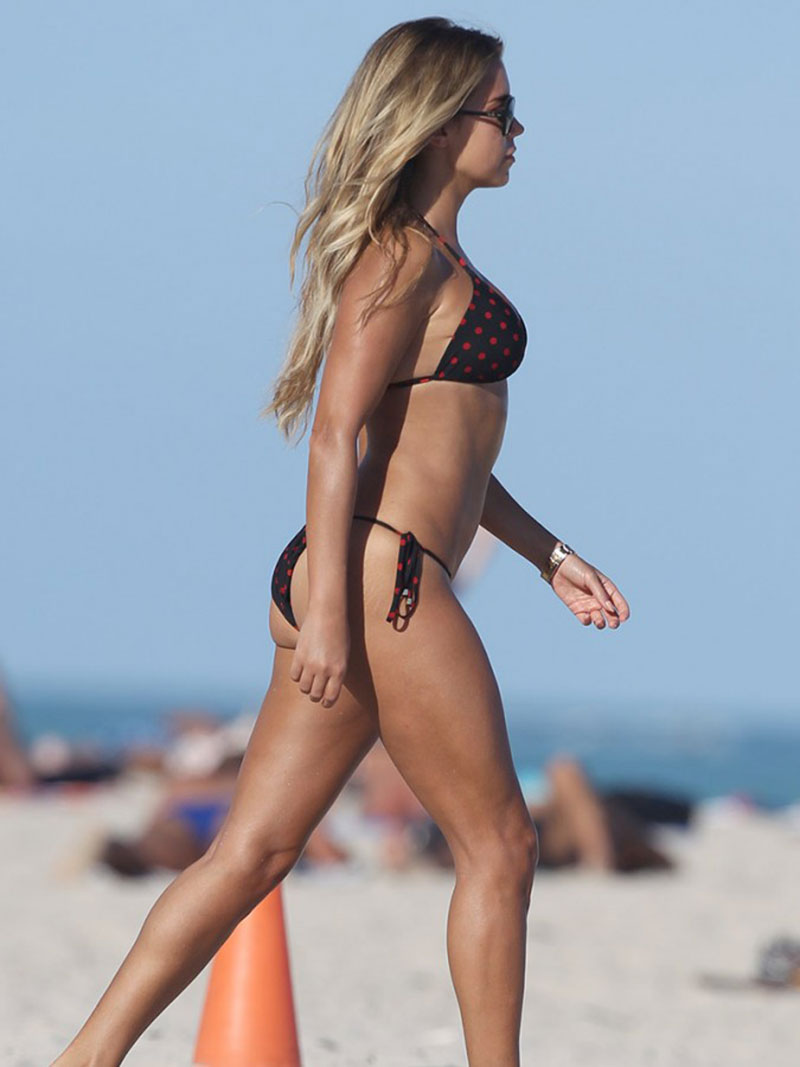 SYLVIE VAN DER VAART in Bikini at a Beach in Miami