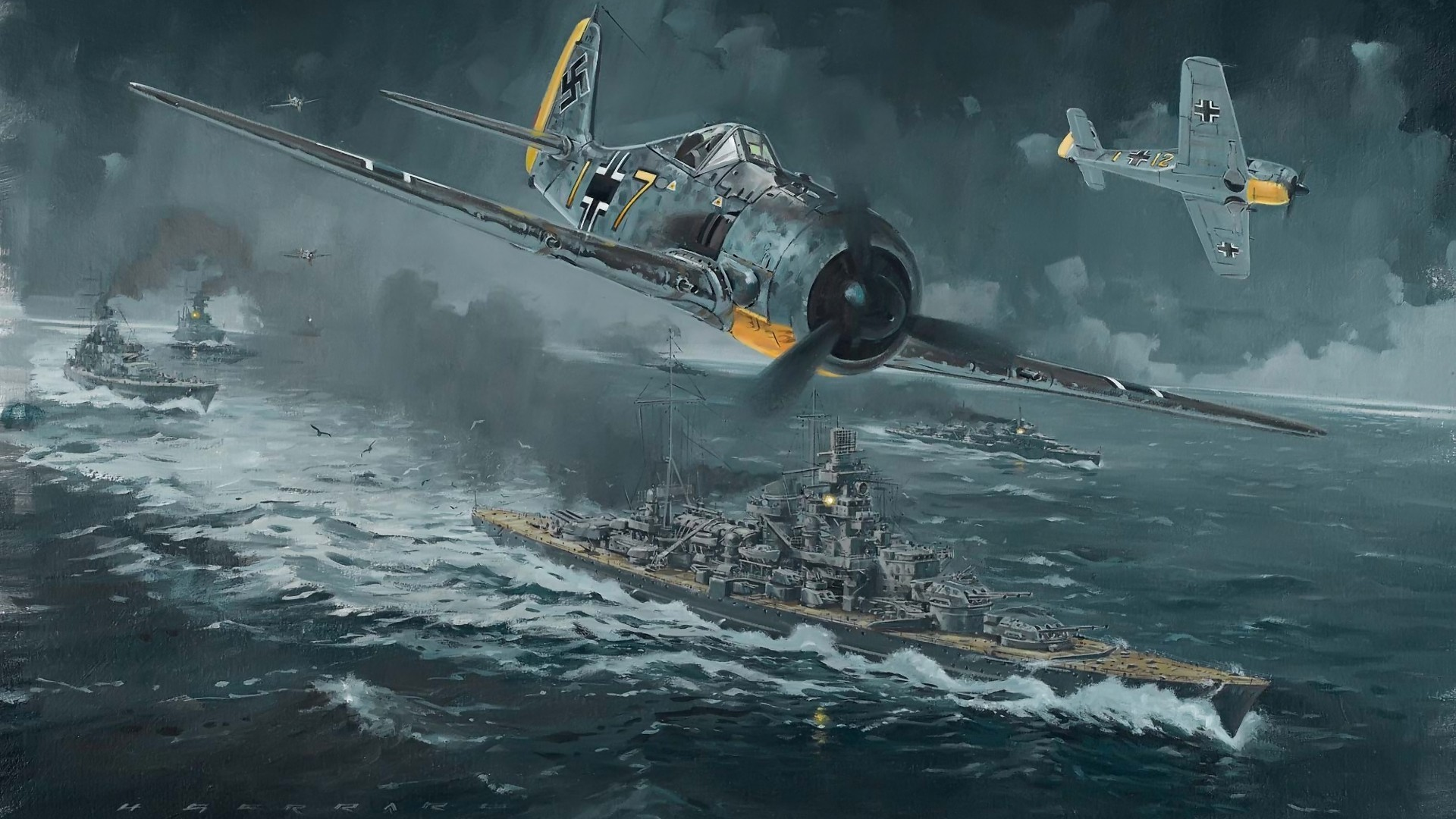 wwii-world-war-airplane-plane-drawing-battleship-fw-190-channel-dash-1942-operation-cerberus-hd-1080p-wallpaper