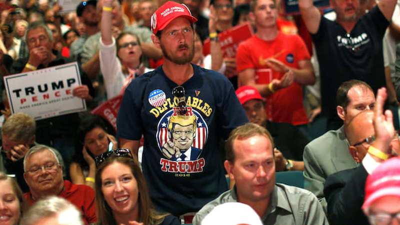 A man reacts as supporters cheer for Republican presidential nominee Donald Trump at a campaign rally in Toledo, Ohio, U.S., September 21, 2016. REUTERS/Jonathan Ernst - RTSOU9M