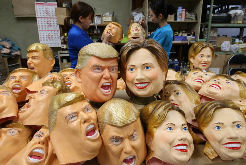 Workers of Ogawa Rubber Inc. are making rubber masks of U.S. Presidentail Republican Donald Trump and his Democratic counterpart Hillary Clinton at its factory in Omiya, Saitama Prefecture on June 9, 2016. Trump and Clinton have run their face deadheat race. ( The Yomiuri Shimbun via AP Images )
