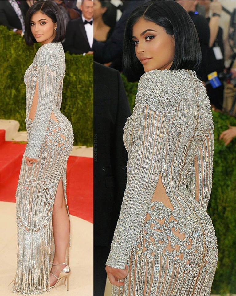 Kylie Jenner wears a see-through nude Versace gown at 2017 Met Gala in NYC, 05/01/2017